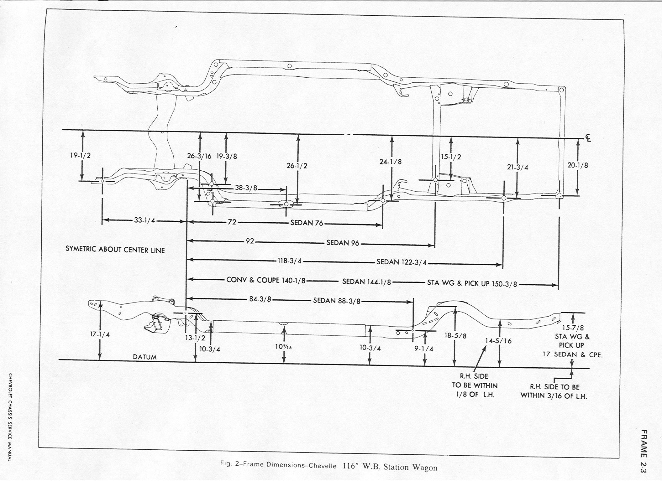 1970 Chevelle Frame Measurements Chevelle Tech